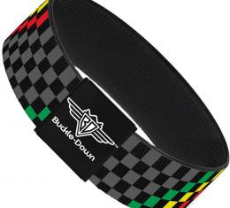 Buckle-Down Elastic Bracelet - Checker Stripe Black/Gray/Rasta