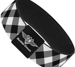 Buckle-Down Elastic Bracelet - Diagonal Buffalo Plaid Black/White