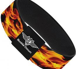 Buckle-Down Elastic Bracelet - Flames Vivid Black/Orange