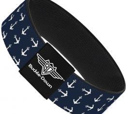 Buckle-Down Elastic Bracelet - Anchors Navy/White