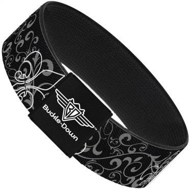Buckle-Down Elastic Bracelet - Fleur-de-Lis Outline w/Filigree Black/Gray