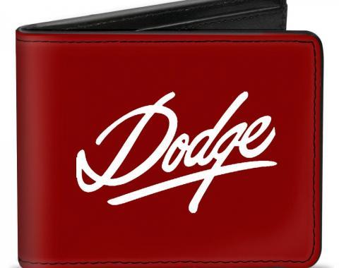 Bi-Fold Wallet - DODGE Emblem Script Burgundy/White