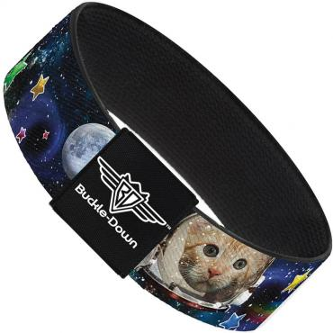 Buckle-Down Elastic Bracelet - Astronaut Cats in Space/Rainbows/Stars