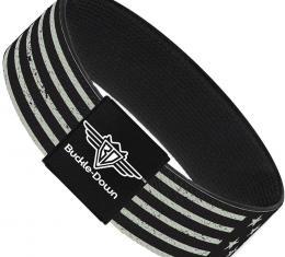 Buckle-Down Elastic Bracelet - Americana Stars & Stripes2 Weathered Black/Gray