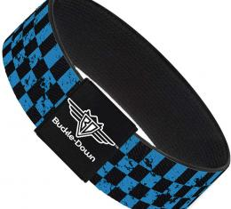 Buckle-Down Elastic Bracelet - Checker Weathered Black/Turquoise