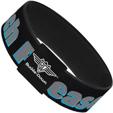 Buckle-Down Elastic Bracelet - BITCH PLEASE Black/Blue/Gray