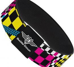 Buckle-Down Elastic Bracelet - Funky Checkers Black/White/Neon