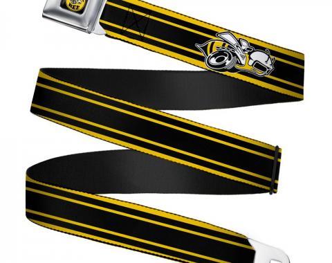 SUPER BEE Logo Full Color Black/Yellow/White Seatbelt Belt - SUPER BEE Logo/Stripes Black/Yellow/White