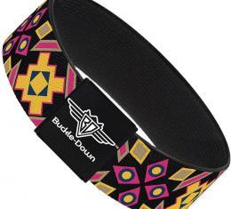 Buckle-Down Elastic Bracelet - Geometric Sunburst Black/Pink/Yellow/Blue