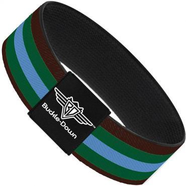 Buckle-Down Elastic Bracelet - Stripes Brown/Green/Baby Blue