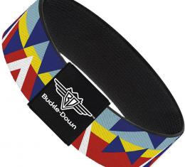 Buckle-Down Elastic Bracelet - Geometric Triangles/Stripe Red/White/Blues/Yellow