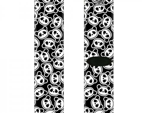 Sock Pair - Polyester - Scattered Panda Bear Cartoon2 Black/White - CREW