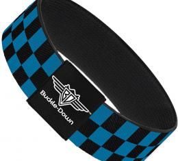 Buckle-Down Elastic Bracelet - Checker Black/Turquoise