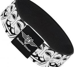 Buckle-Down Elastic Bracelet - Anonymous Face C/U Repeat White/Black/Gray