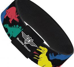 Buckle-Down Elastic Bracelet - Dinosaurs Black/Multi Color