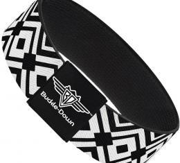 Buckle-Down Elastic Bracelet - Geometric Diamond2 Black/White/Black