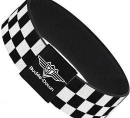 Buckle-Down Elastic Bracelet - Checker Black/White