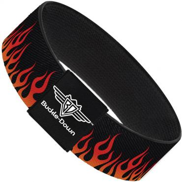 Buckle-Down Elastic Bracelet - Flames Black/Orange/Red