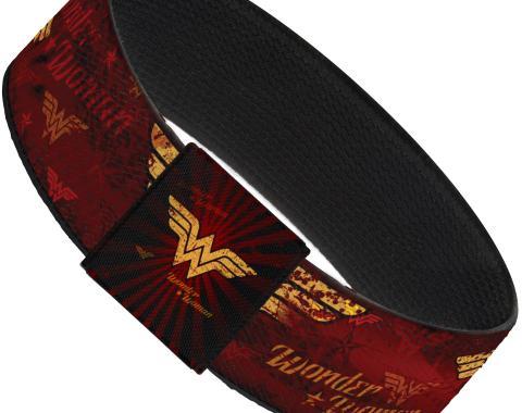 "Elastic Bracelet - 1.0"" - WONDER WOMAN/Logo Rays Burgundy/Gold"
