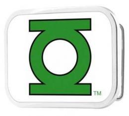 Green Lantern Logo CLOSE-UP FCG White/Green - Chrome Rock Star Buckle