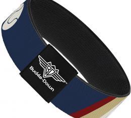 Buckle-Down Elastic Bracelet - Ball/Stripes Tan/Blue/Burgundy