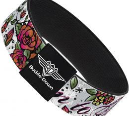 Buckle-Down Elastic Bracelet - Born to Blossom White