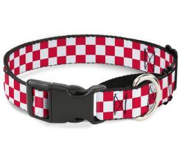 Plastic Martingale Collar - Checker Crimson/White