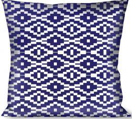 Buckle-Down Throw Pillow - Geometric Diamond Blue/White