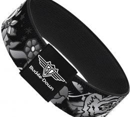 Buckle-Down Elastic Bracelet - Death Before Dishonor Black/White