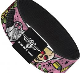 Buckle-Down Elastic Bracelet - Born to Raise Hell C/U Pink