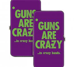 Hinged Wallet - GUNS ARE CRAZY…IN CRAZY HANDS. Purple/Green