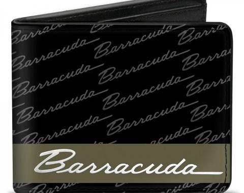 Bi-Fold Wallet - BARRACUDA Script Stripe/Monogram Black/Gray/Olive/Silver