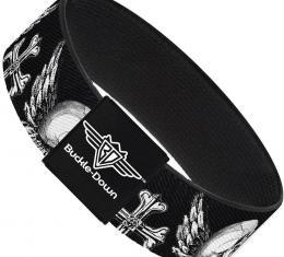 Buckle-Down Elastic Bracelet - BD Skulls w/Wings Black/White
