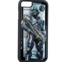 Rubber Cell Phone Case - BLACK - Spartan-IV Jameson Locke Pose/ONI Seal FCG