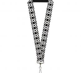 Buckle-Down Lanyard - Geometric Diamond2 Black/White/Black