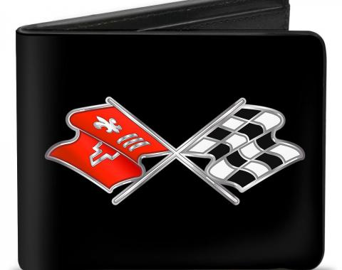 Bi-Fold Wallet - Corvette C3 Crossed Flags Logo Black