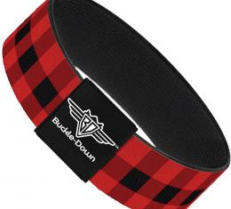 Buckle-Down Elastic Bracelet - Buffalo Plaid Black/Red