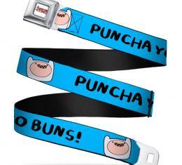Adventure Time Logo White Full Color Seatbelt Belt - Finn Face - PUNCHA YO BUNS! Blue Webbing