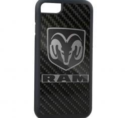 Rubber Cell Phone Case - BLACK - Ram Marquetry Carbon Fiber/Reverse Brushed Metal