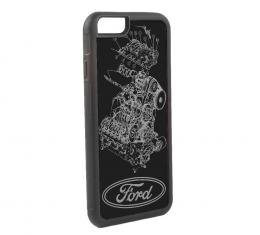 Rubber Cell Phone Case - BLACK - FORD Oval/Engine Blueprint Reverse Brushed