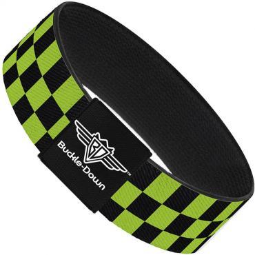 Buckle-Down Elastic Bracelet - Checker Black/Neon Green