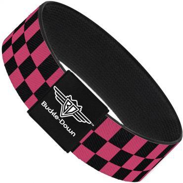 Buckle-Down Elastic Bracelet - Checker Black/Honeysuckle Red