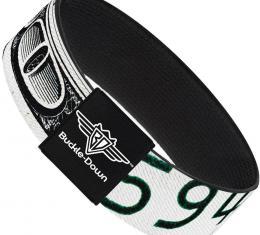 Buckle-Down Elastic Bracelet - 100 Dollar Bill C/U White/Black