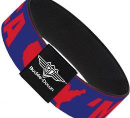 Buckle-Down Elastic Bracelet - MERICA/USA Silhouette Blue/Red