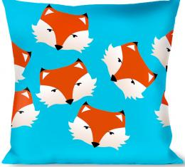 Buckle-Down Throw Pillow - Fox Face Scattered Sky Blue