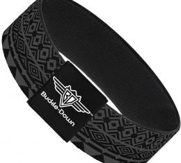 Buckle-Down Elastic Bracelet - Aztec1 Gray/Black