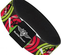 Buckle-Down Elastic Bracelet - Green & Red Dragons Smoking Gray