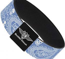 Buckle-Down Elastic Bracelet - Bandana/Skulls Baby Blue/White