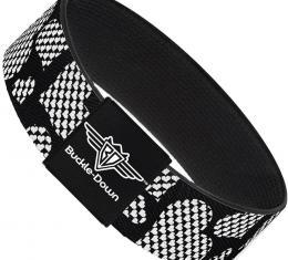Buckle-Down Elastic Bracelet - Eighties Hearts Black/White