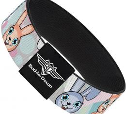 Buckle-Down Elastic Bracelet - Cute Bunnies Multi Pastel